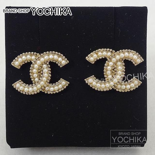 Chanel Coco Make Brion Pearl Earrings Gold A88377 New Mark Bullion Pierced Brand Authentic Yochika