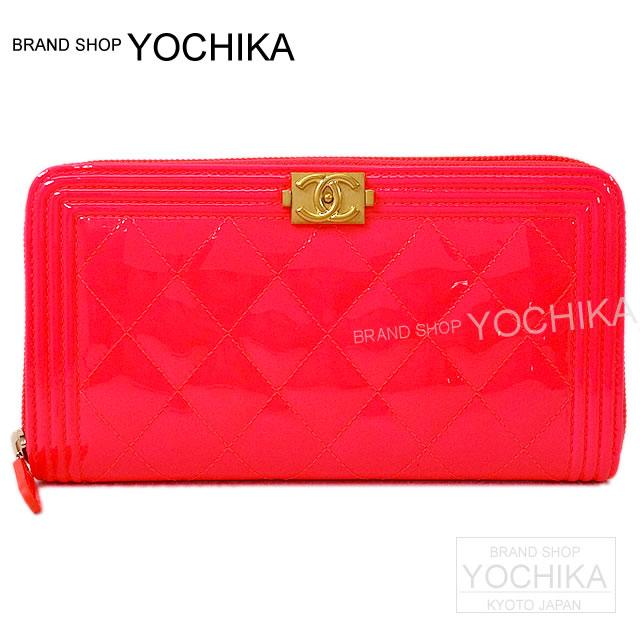 df4697438cd1e1 CHANEL Chanel boy Chanel round fastener long wallet neon pink patent enamel  leather A80288 new article ...