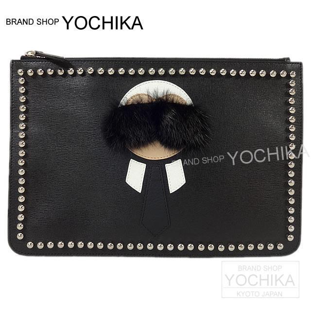 Fendi Clutch Bag Pouch Karl Lagerfeld Black X White 7n0078 New Flat Karlito Calf Mink Fur Yochika