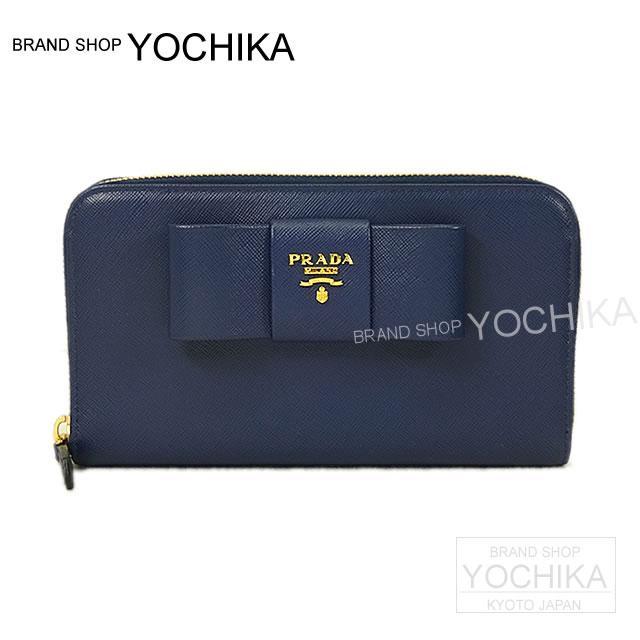 541e8c586d84f3 ... new zealand prada prada ribbon zip around wallet small bluebrietta saffiano  fiocco 1 m 0506 new
