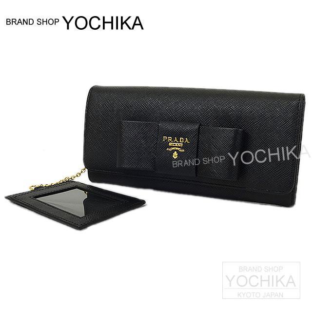 8f9d00cb Black (black) サフィアーノフィオッコゴールド metal fittings 1M1132 new article (PRADA  Wallet Ribbon motif with Pass case Black Saffiano ...