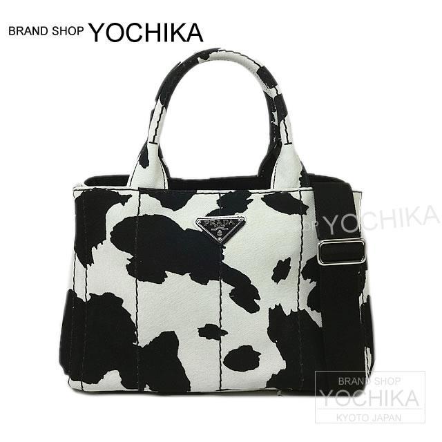 b2ab14b67034 Cow pattern black X white 1BG439 new article (PRADA CANAPA mini Tote bag  cow-skin pattern Black White 1BG439 Authentic )  よちか with PRADA plastic  Dacca ...