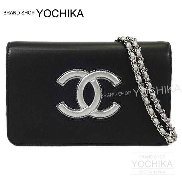 9146ebb47420aa CHANEL Chanel airline here mark by color chain wallet shoulder bag black  lambskin A80895 new article ...