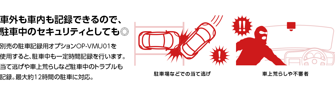 別売の駐車記録用オプションOP-VMU01を使用すると、駐車中も一定時間記録を行います。
