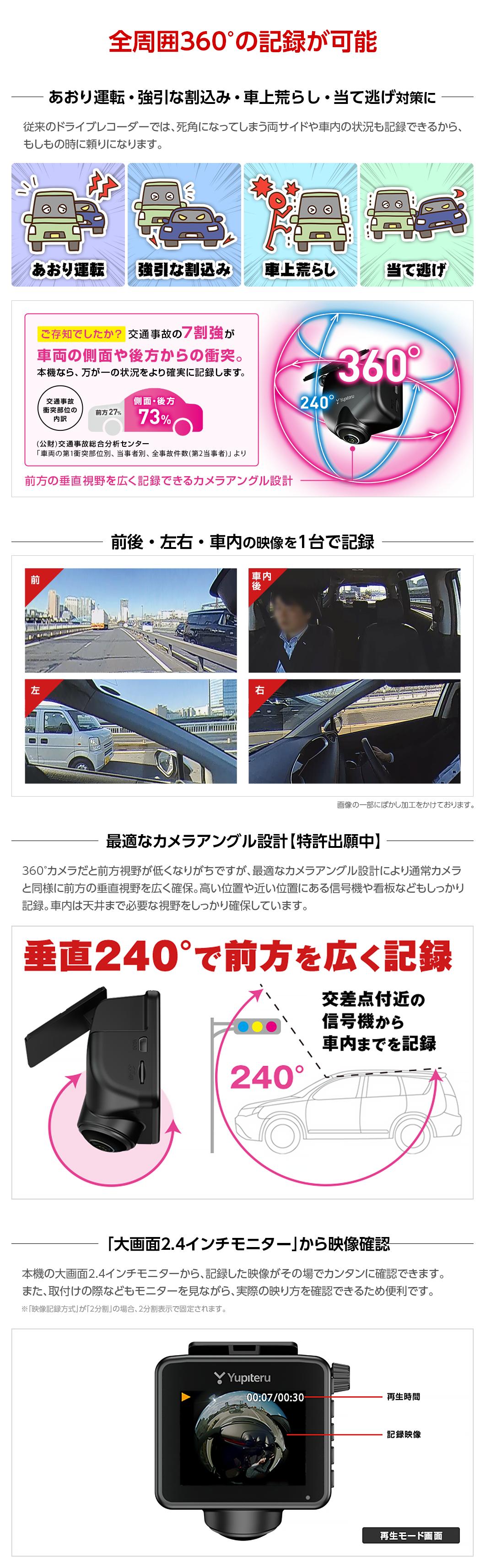 全周囲360°の記録が可能 前後・左右・車内の映像を1台で記録 最適なカメラアングル設計 大画面2.4インチモニターから映像確認