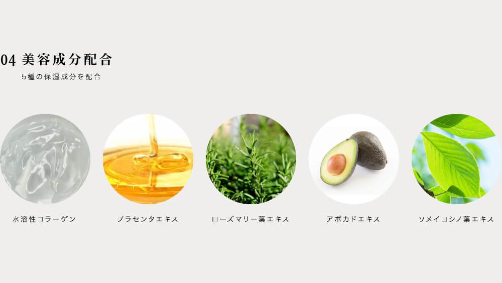 04美容成分配合 5種の保湿成分を配合 ・水溶性コラーゲン ・プラセンタエキス ・ローズマリー葉エキス ・アボカドエキス ・ソメイヨシノ葉エキス