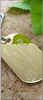 真鍮ドッグタグ(ペット迷子札)ミラー・鏡面ゴールド